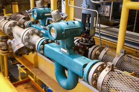 Flow zender of flowtransducer apparatuur functie en stuurde PLC logica aan de processor in de olie- en gasproductie proces, elektronische apparaat in de olie- en gasindustrie en de apparatuur in onderhoud modus.