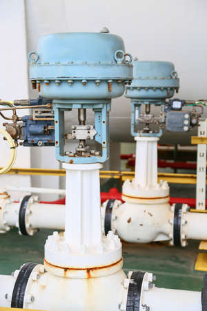 gas supply: Pressure control valve in oil and gas process and controlled by Program Logic Control, PLC controller the valve and control instrument gas supply to actuator of the valve as PLC command. Stock Photo