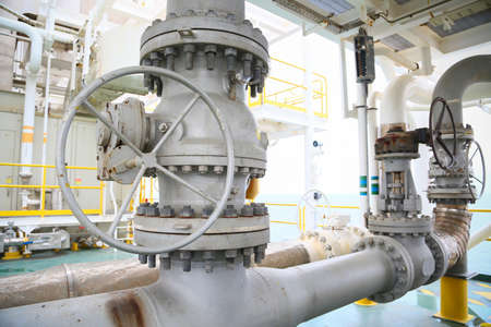 damage control: Valves manual in the production process. Production process used manual valve to control the system, Operator open and close or function the valve for controlled pressure or gas and oil flow rate. Stock Photo