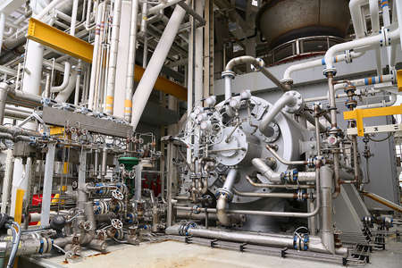Machine turbine in oil and gas plant for drive compressor unit for operation. Turbine working with long time and controlled logic by automation system, machine stand by for maintenance routine job. Archivio Fotografico