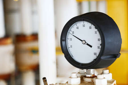 Pressure gauge using measure the pressure in production process. Stock Photo