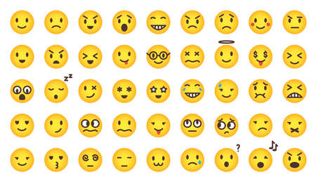 Cartoon gradient cute emoji set. Vector flat comic yellow emoticon character collection isolated on white. Mood and facial smiles. Funny, angry, happy and sad faces web icons for chat message