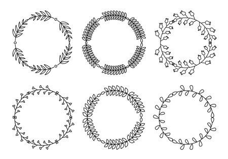Branch circle line set. Flourish retro ornament divider. Herbal ornate doodle design elements. Vintage botanical border. Wedding invitation, greeting card, scrapbook stamp, winner wreath floral decor