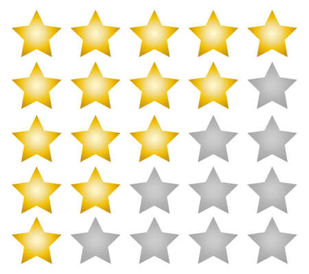 Rating stars gradient vector web ranking star signs. Star vector icons on white background. Customer product rating. Sticker and label.