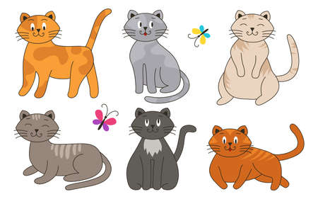 Cats are cartoon and flat colorful, good-natured, in different colors, unusual faces, various poses set. Playful kittens, home pets. Bright butterflies fly around. Vector illustration