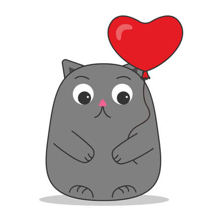 Cat cute gray with a heart balloon on a rope in his paws with a happy muzzle in a cartoon style. A parody of the movie It. Children baby funny card. Happy birthday, party concept, celebration. Vector Vector Illustration