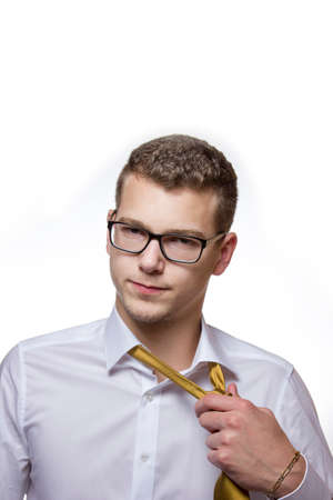 Nerfed business man comes home exhausted from work