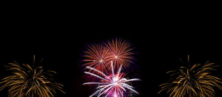 Very large firework background with 100 percent pure black photo