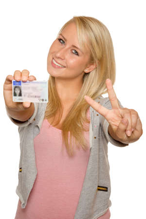 drivers license: 16 to 18 year old girl just received her driver license