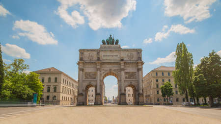 The Siegestor (Victory Gate) in Munich, Germany. Originally dedicated to the glory of the army it is now a reminder to peace. Stock Photo