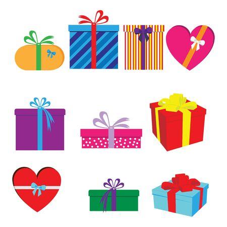 zestaw kształtów prezentów