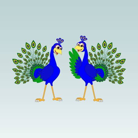 cute and adorable peacock illustration design
