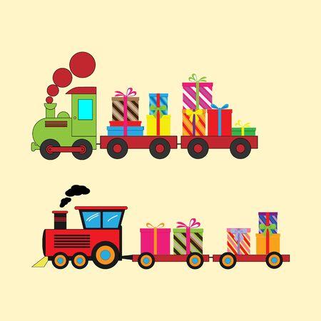 Illustrative design of various shapes of train Illusztráció
