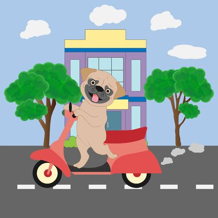 Design illustration of a cute dog driving a motorcycle