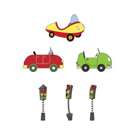 Illustration design of car shapes and traffic lights Illustration