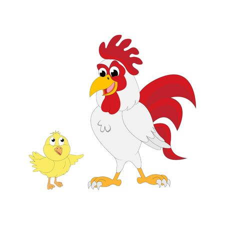 Illustration of cute rooster and chick character design