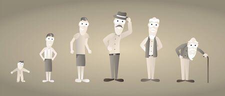 Vintage Man Growing old  Aging Illustration