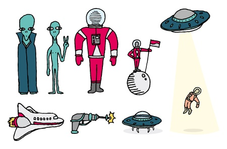 Space set  Aliens and astronauts Vector