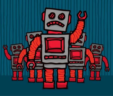 mob: Angry robot mob Illustration