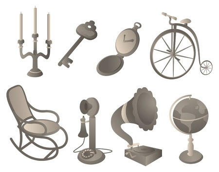 Antique objects set Stock Vector - 19111823