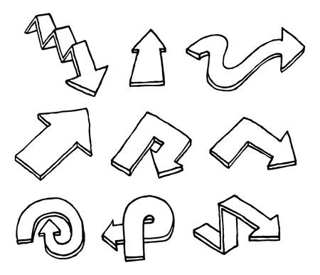 Disegnata a mano vettore freccia set
