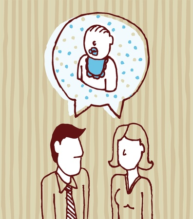 firstborn: Parents talking about baby  Father, mother, son