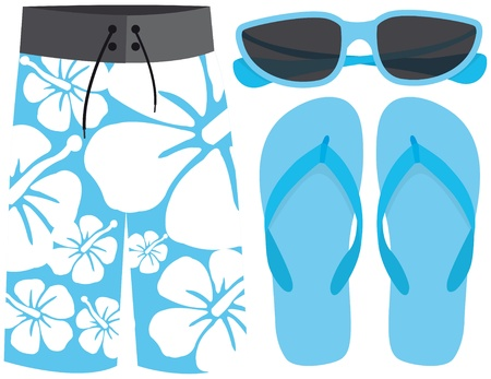 Swimsuit, sunglasses and sandals Stock Vector - 19111809