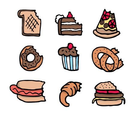 french toast: Cartoon bitten food set Illustration