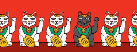 fortune cat: Black cat among white fortune cats