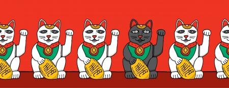 money cat: Gato negro entre los gatos fortuna blancas