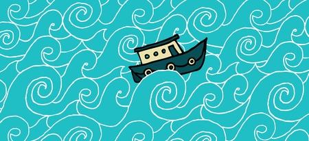 Small boat cruising a choppy sea Stock Vector - 19111982