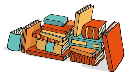 guidebook: Sketchy bunch of piled books Illustration