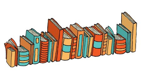 guidebook: Different standing books  Library stack Illustration