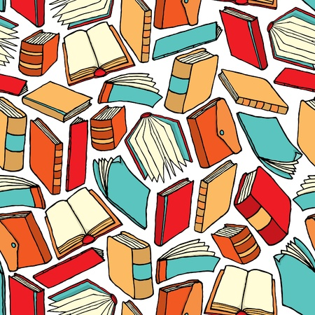 Seamless book pattern  Background wallpaper