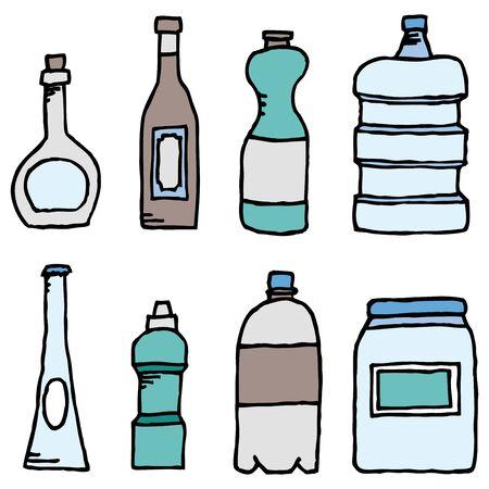 Vector bottle set  Liquid vessels Illustration
