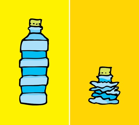 compacted: Compacted plastic bottle Illustration