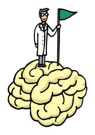 conquistando: Cient�fico cerebro conquista Vectores