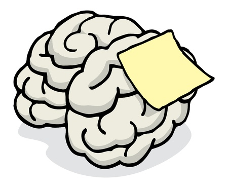 posted: Blank note posted on brain reminder Illustration