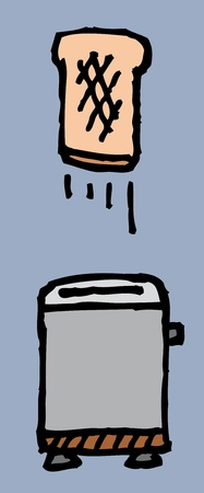 Toaster and toast  Breakfast is ready Vector