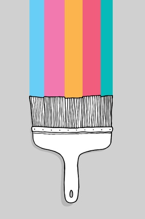 Colorful cartoon paintbrush with copyspace Stock Vector - 19111988