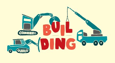 Construction vehicles building word Stock Vector - 19111966