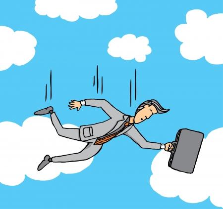 caida libre: Hombre de negocios que caen del cielo