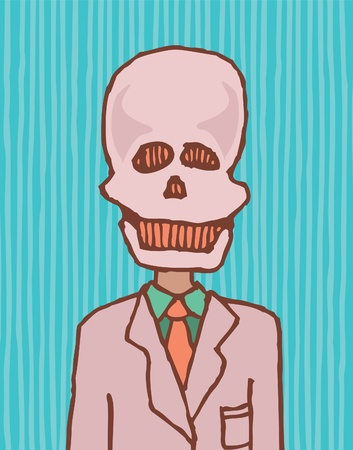 character traits: Death is a businessman  Funny skull Illustration