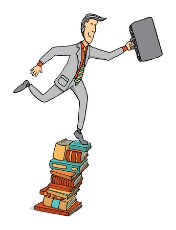 Businessman stepping on a pile of books Stock Vector - 19111997