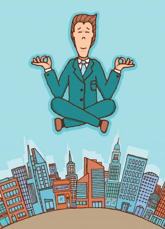 tranquil scene on urban scene: Businessman meditating in peace Illustration