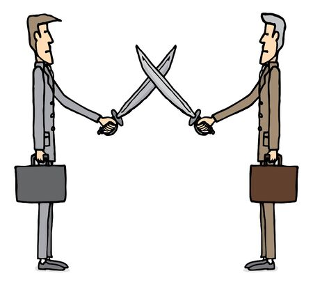 dueling: Businessmen sword dueling Illustration
