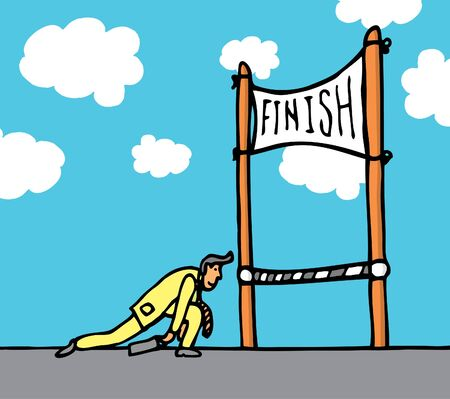 persistence: Huge effort getting to the finish line Illustration