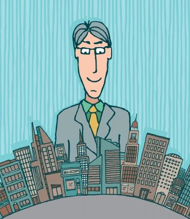 dominate: Giant businessman Illustration