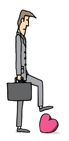 Tough businessman stepping on heart Stock Vector - 19111798