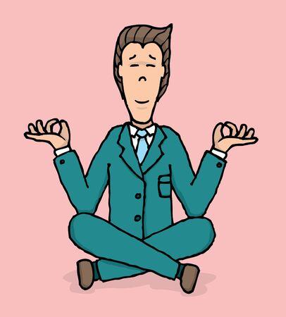 Business meditation   Yoga at work Stock Vector - 19111837